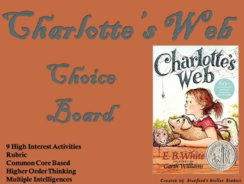 Charlotte's Web Choice Board Novel Study Activities Menu Book Project Rubric