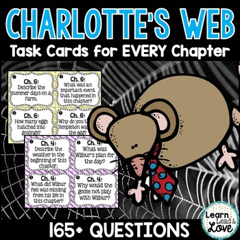 Charlotte's Web Comprehension TASK CARDS for each chapter!