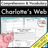 Charlotte's Web: Comprehension and Vocabulary by chapter Distance Learning