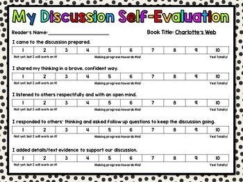 Charlotte's Web Discussion Cards PLUS Extension Activities