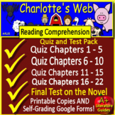 Charlotte's Web Tests, Quizzes, Assessments, Printable + G