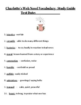 Charlotte's Web End of Book Vocab Test WITH STUDY GUIDE