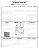 Charlotte's Web Language Arts Extension Menus
