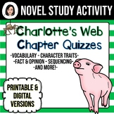 Charlotte's Web *No Prep* Chapter Quizzes Distance Learning