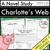 Charlotte's Web Novel Study Unit: comprehension, vocab, activities, tests