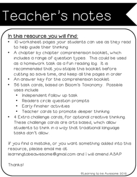 Charlotte's Web - Novel Study - Comprehension activities