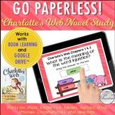 Distance Learning Google Classroom™ Charlotte's Web Novel Study Self-Checking