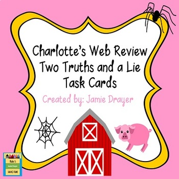 Charlotte's Web Novel Study Review Task Card Activity
