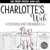 Charlotte's Web Novel Study Unit - Common Core Aligned