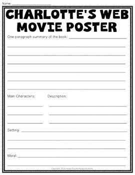 Charlotte's Web Project: Create a Movie Poster: Charlotte's Web Book Report