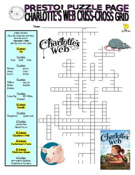 Charlotte's Web Puzzle Page (Wordsearch and Criss-Cross)