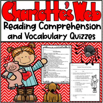 Charlotte's Web Reading Comprehension and Vocabulary Quizzes