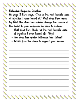 Charlotte's Web Short and Extended Response Questions for Test Prep SAMPLE