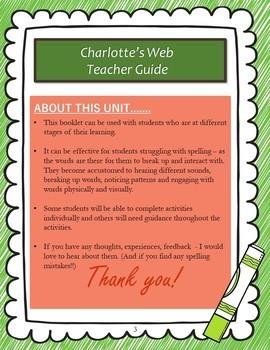 Charlotte's Web Spelling Booklet UK/AUS Version