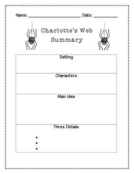 Charlotte's Web Summary Graphic Organizer
