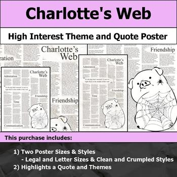 Charlotte's Web - Visual Theme and Quote Poster for Bulletin Boards