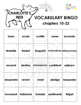 Charlotte's Web Vocabulary Bingo