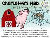 Charlotte's Web, by EB White - Literature Unit Pack