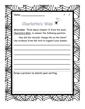 Charlotte's Web written response questions, chapters 11-15