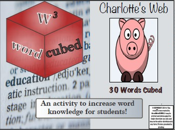 Charlotte's Web 30 Vocabulary Words CUBED Ready to go Activity