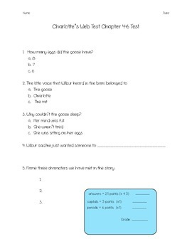 Charlotte's Web Assessment Chapters 4-6