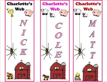 Charlotte's Web Bookmarks- Customize for your class!!