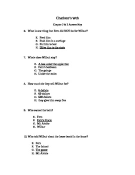 Charlotte's Web Chapter Quizzes Chapters 2 & 3