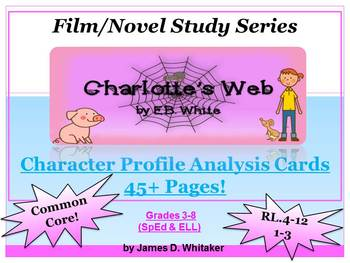 Charlotte's Web Character Analysis Profile Cards Common Core
