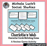 Charlotte's Web Character Cue Cards Matching Game for Review, Centers