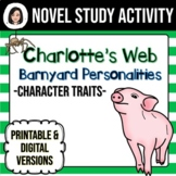 Charlotte's Web Character Trait Worksheet Distance Learning