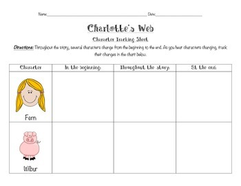 Charlotte's Web Character tracking sheet
