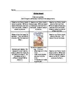 Charlotte's Web Choice Board