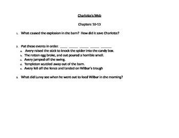 Charlotte's Web Comprehension Questions (Chapters 7-13)