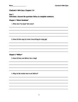 Charlotte's Web Comprehension Quiz