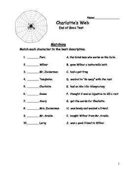 Charlotte's Web End of Book Test