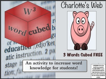 Charlotte's Web Free Vocabulary Words CUBED Ready to go Activity