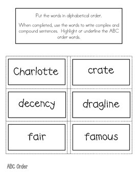 Charlotte's Web Literacy Center- ABC Order