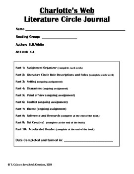 Charlotte's Web Literature Circle Journal Student Packet