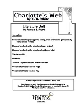 Charlotte's Web Literature Unit or for Book Club