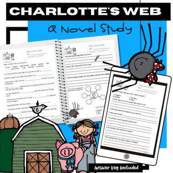 Charlotte's Web Novel Study Questions, Vocabulary, Test, and MORE!