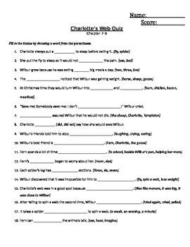 Charlotte's Web Quiz Chap 7-9