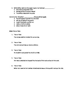 Charlotte's Web Quiz, Chapters 18 &19