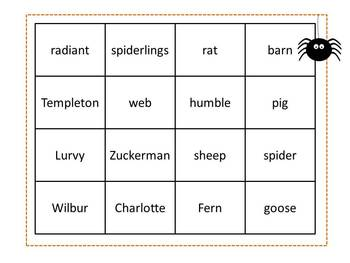 Charlotte's Web Spider Inference Bingo