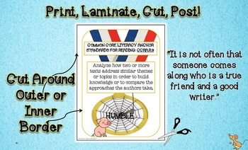 Charlotte's Web Themed Common Core Reading Anchor Standards Posters