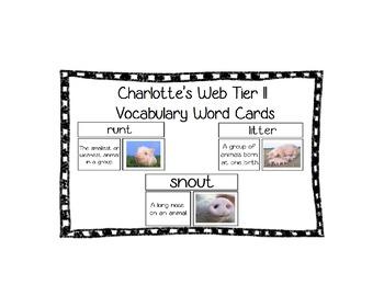 Charlotte's Web Tier II Vocabulary Cards