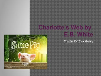 Charlotte's Web Vocabulary Chapters 10-12