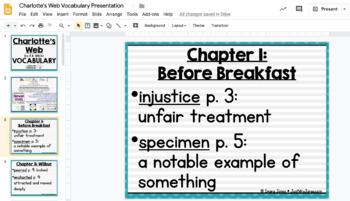 Charlotte's Web Vocabulary Presentation