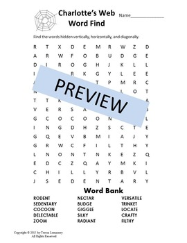 Charlotte's Web Word Find