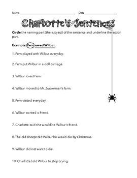 Charlotte's Web Worksheet: Naming and Action Parts