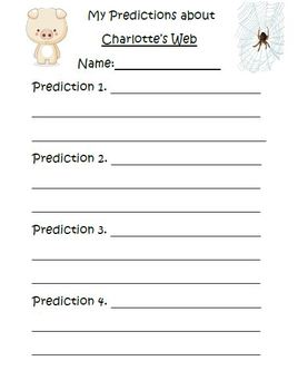 Charlotte's Web by E. B. White Prediction Plate Activity